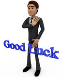 3d man with goodluck concept Royalty Free Stock Images