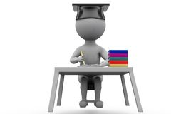 3d man graduate on book table concept Stock Images