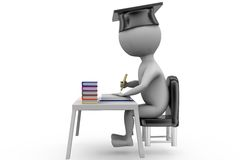 3d man graduate on book table concept Royalty Free Stock Photos
