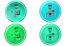 3d man graduate on book table icon Stock Image