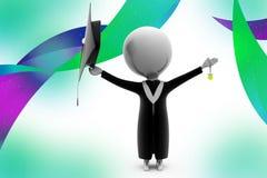 3d man graduate  illustration Stock Images