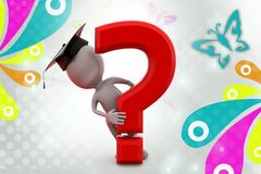 3d man graduate with question mark  illustration Royalty Free Stock Photos
