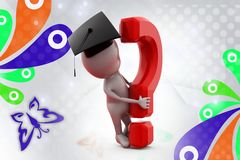 3d man graduate with question mark  illustration Royalty Free Stock Images