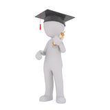 3d man graduating from college or university. 3d rendered cartoon man wearing a mortarboard hat and holding his certificate graduating from college or university Stock Photo
