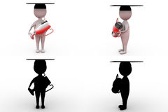 3d man graduation award concept collections with alpha and shadow channel Stock Images