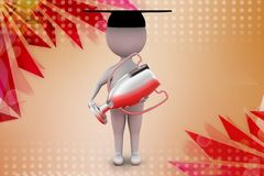 3d man graduation award  illustration Stock Image