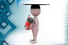 3d man graduation award  illustration Stock Images