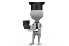 3d man graduation with laptop concept Royalty Free Stock Photo