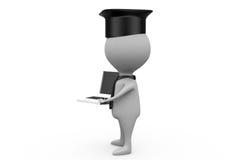 3d man graduation with laptop concept Stock Images