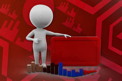 3D man graph and board illustration Royalty Free Stock Photography