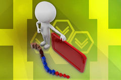 3D man graph and board illustration Royalty Free Stock Photo