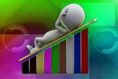 3d man graph illustration Stock Images