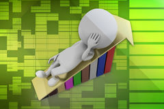 3d man graph illustration Royalty Free Stock Images