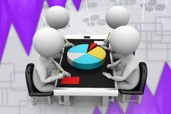 3d man graph in meeting illustration Stock Images