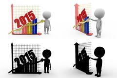 3d man 2015 graphs concept  collections with alpha and shadow channel Royalty Free Stock Images