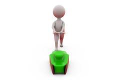 3d man grass cutter concept Royalty Free Stock Photos
