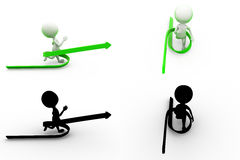 3d man with green arrow Concept Collections With Alpha And Shadow Channel Royalty Free Stock Image