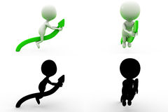 3d man on green arrow Concept Collections With Alpha And Shadow Channel Stock Photos