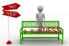 3d man on Green bench with e business text on white background Stock Image