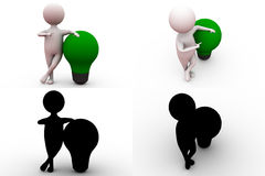 3d man with green bulb concept collections with alpha and shadow channel Royalty Free Stock Photo