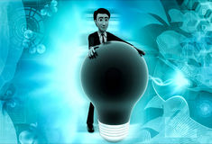 3d man green bulb concept Royalty Free Stock Images