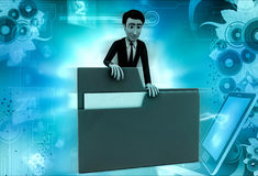 3d man with green file concept Royalty Free Stock Photography