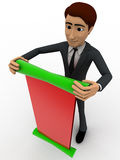 3d man with green and red paper scroll message concept Stock Photo