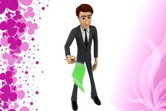 3d character holding green signal flag illustration Royalty Free Stock Photography
