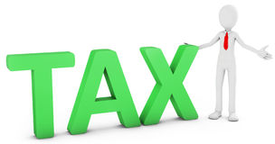 3d man with green tax text Stock Photo