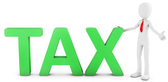 3d man with green tax text Stock Photography