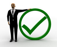 3d man with green tick mark Stock Image