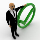 3d man with green tick mark Royalty Free Stock Photo
