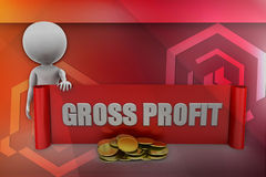 3D man gross profit illustration Stock Image
