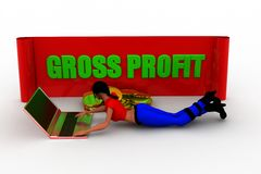 3D man gross profit illustration Royalty Free Stock Photos