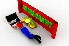 3D man gross profit illustration Royalty Free Stock Photo