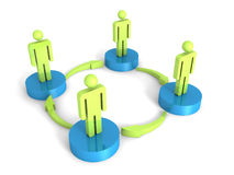 3d man group arrows connection teamwork concept. 3d render illustration Stock Photography