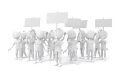 3d man -  group of protesting people Royalty Free Stock Photo
