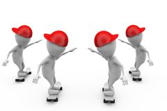 3d man group skateboard concept Royalty Free Stock Images