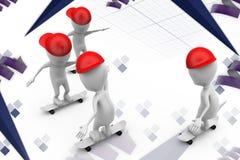 3d man group skateboard illustration Stock Photography