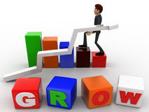 3d man with grow cube and bar and arrow graph concept Stock Photography