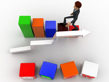 3d man with grow cube and bar and arrow graph concept Royalty Free Stock Image