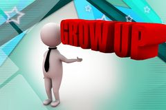 3d man grow  illustration Royalty Free Stock Images