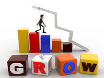 3d man with grow text bar and arrow graph concept Stock Photo