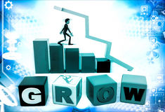 3d man with grow text bar and arrow graph illustration Stock Photography