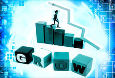 3d man with grow text bar and arrow graph illustration Stock Images