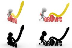 3d man grow up concept collections with alpha and shadow channel Royalty Free Stock Image