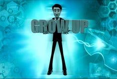 3d man grow up concept Stock Photo