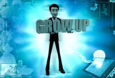 3d man grow up concept Royalty Free Stock Photo