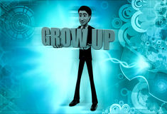 3d man grow up concept Royalty Free Stock Photos
