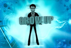 3d man grow up concept Royalty Free Stock Photography